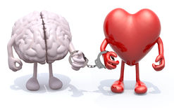 Brain and heart with arms and legs linked by handcuffs on hand stock illustration
