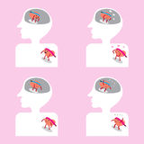 Brain and heart cartoon getting together well inside body Royalty Free Stock Images