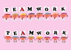 Brain and heart cartoon teamwork Stock Photos