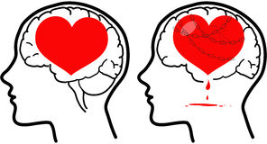 Brain and heart concept vector Royalty Free Stock Images