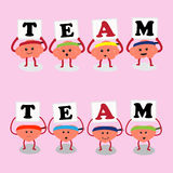 Brain and heart holding team letter Royalty Free Stock Photos