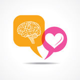 Brain and heart in message bubble stock illustration