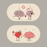 The brain and heart set. Smoking is bad, a heart attack. Royalty Free Stock Photo
