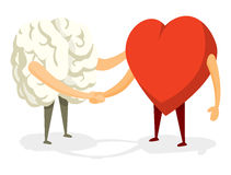 Brain and heart shaking hands Stock Image