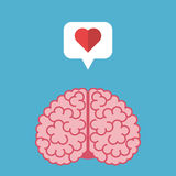 Brain, heart, speech bubble stock illustration