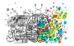 Brain hemispheres. Illustration about the use of brain hemispheres. Right: emotions, intuitions, music, creativity and colorful vision. Left: logic, reason vector illustration