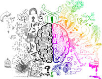 Brain hemispheres sketchy doodles. This sketchy illustration is about the use of brain hemispheres. Right: emotions, intuitions, creativity and colorful vision stock illustration