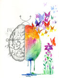 Brain hemispheres watercolored artwork Stock Images