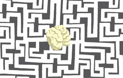 Brain hidden in complex maze or labyrinth Royalty Free Stock Photo
