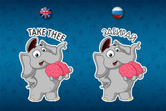 Brain. Holds in hands. He shares his mind. Elephant. Big set of stickers in English and Russian languages. Vector, cartoon Royalty Free Stock Photography