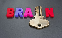 Brain holds the key. Text ' Brain holds the key ' in colorful uppercase letters with the letter ' i ' replace with a gold key  on a dark gray background Stock Image