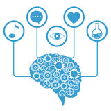 Brain human gear learning icons Royalty Free Stock Image