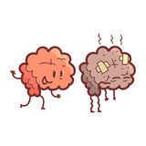 Brain Human Internal Organ Healthy contra os pares engraçados anatômicos insalubres, médicos do personagem de banda desenhada em  Imagem de Stock