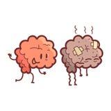 Brain Human Internal Organ Healthy Vs Unhealthy, Medical Anatomic Funny Cartoon Character Pair In Comparison Happy Stock Image