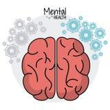 Brain human mental health gears image. Vector illustration eps 10 Stock Photography