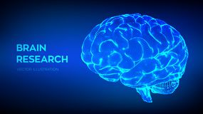 Brain. Human brain research. 3D Science and Technology concept. Neural network. IQ testing, artificial intelligence. Virtual emulation science technology stock illustration