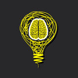Brain icon  in bulb concept Royalty Free Stock Images