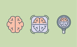 Brain icon collection with Magnifying glass and frame. Illustration about medical check concept and internal organ Royalty Free Stock Image
