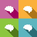 Brain icon on colored background Stock Photo