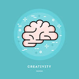 Brain icon, flat design line style banner Royalty Free Stock Image