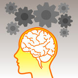 Brain icon with gears Stock Photography