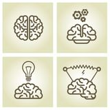 Brain icon - invention and inspiration symbols Royalty Free Stock Images