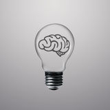 Brain icon in light bulb Royalty Free Stock Images