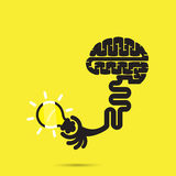 Brain icon and light bulb symbol.  Royalty Free Stock Images
