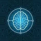 Brain Icon Over Blue Circuit Chip Background Connection Concept Royalty Free Stock Images