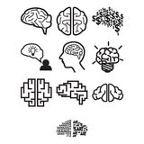 Brain icon set Royalty Free Stock Photos
