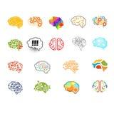 Brain Icon Set, grupo da ilustração do vetor Imagens de Stock