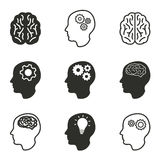 Brain icon set. Brain vector icons set. Black illustration isolated on white background for graphic and web design Royalty Free Illustration