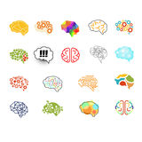 Brain Icon Set, Vektor-Illustrations-Satz Stockbilder