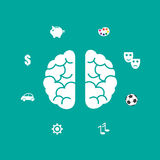 Brain icon. Vector illustration in flat style Royalty Free Stock Images