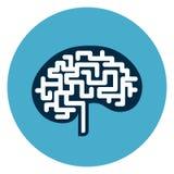 Brain Icon Web Button Isolated no fundo redondo azul Fotos de Stock