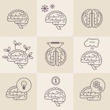 Brain icons. Vector set of 9 brain icon designs Royalty Free Stock Photo