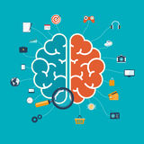 Brain with icons concept for web and mobile apps or infographics Stock Photography