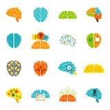Brain icons flat Stock Photos
