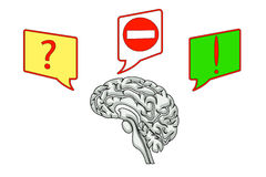 Brain with icons of questions and ideas Royalty Free Stock Photos