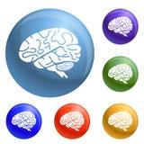 Brain icons set vector royalty free illustration