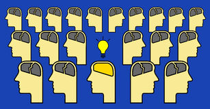 Brain with idea alone. Man with brain having idea alone in the crowd Royalty Free Stock Photos