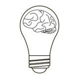 Brain idea bulb concept outline Royalty Free Stock Photography