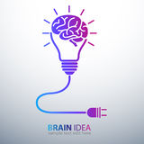 Brain idea. Creative brain Idea concept with light bulb and plug icon ,vector illustration