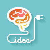 Brain and idea. Flat design. Brain and idea. Knowledge concept