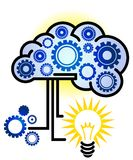 Brain Idea Icon. A brain with gears idea icon for thinking and process lightbulb Royalty Free Stock Image