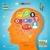 Brain idea infographic design media communication Royalty Free Stock Photo