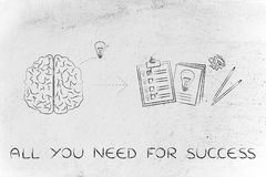 Brain with idea to write down on paper, all you need for success Stock Images
