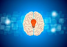 Brain idea vector with blue background Royalty Free Stock Images