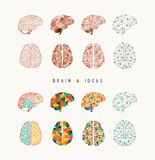 Brain and ideas icon set illustration Stock Image