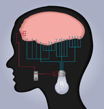 Brain illustration. An illustration with human head and brain connecting wires and a switch to a light bulb Stock Images